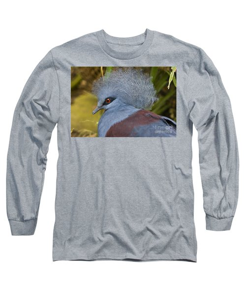 Blue-crowned Pigeon Long Sleeve T-Shirt by David Millenheft
