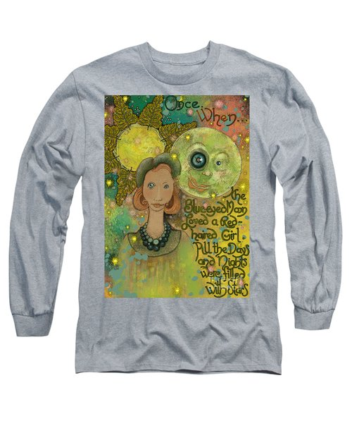 Long Sleeve T-Shirt featuring the painting Blue-eyed Moon by Carol Jacobs