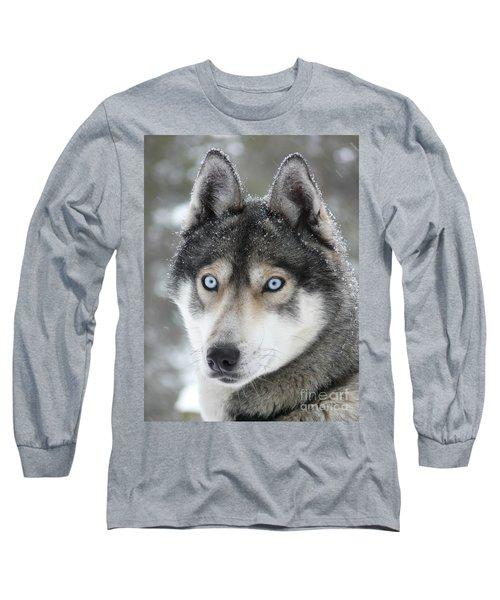 Blue Eyes Husky Dog Long Sleeve T-Shirt
