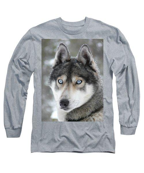 Blue Eyes Husky Dog Long Sleeve T-Shirt