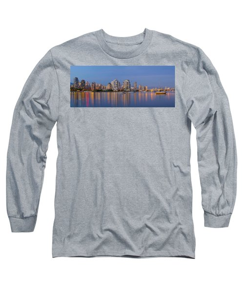 Long Sleeve T-Shirt featuring the photograph Blue Hour At False Creek Vancouver Bc Canada by JPLDesigns