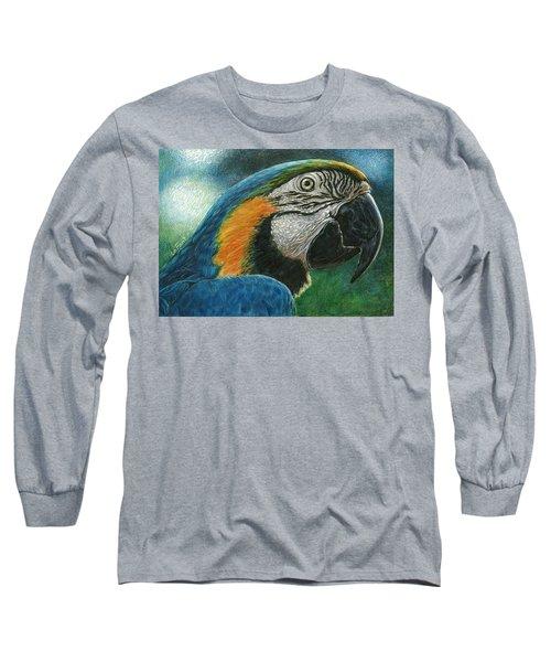 Blue Macaw Long Sleeve T-Shirt by Sandra LaFaut