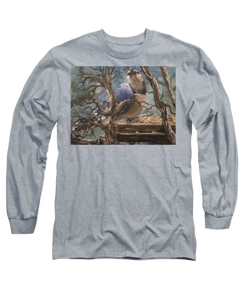Long Sleeve T-Shirt featuring the painting Bluejay by Megan Walsh