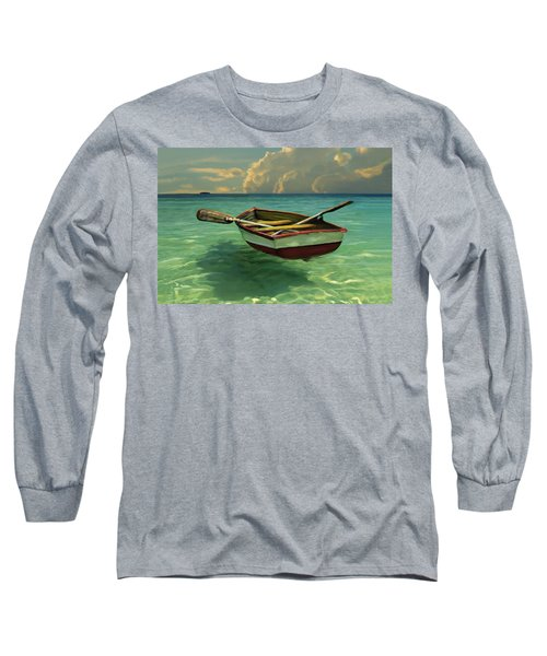 Boat In Clear Water Long Sleeve T-Shirt