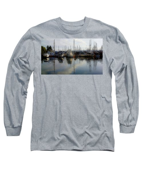 Long Sleeve T-Shirt featuring the photograph Boats At Marina On Liberty Bay by Greg Reed