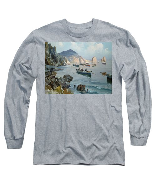 Boats In A Rocky Cove  Long Sleeve T-Shirt