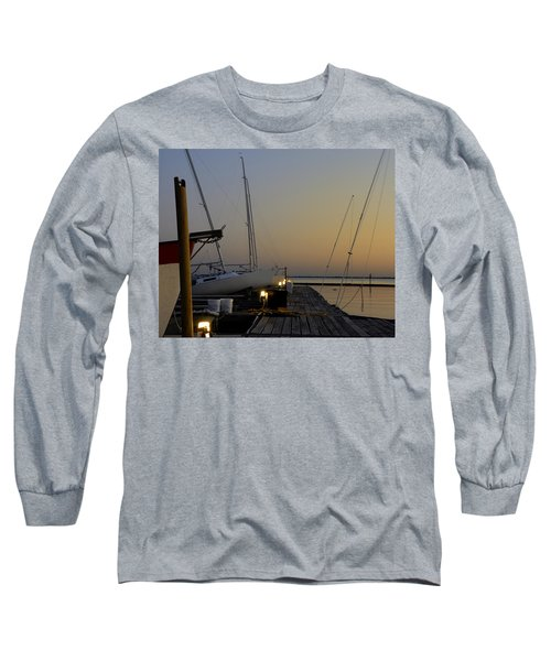 Boats Moored To Pier At Sunset Long Sleeve T-Shirt by Charles Beeler