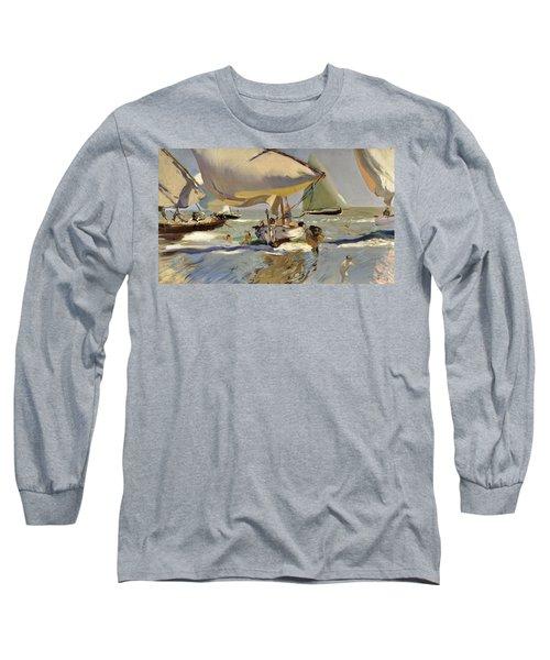 Boats On The Shore Long Sleeve T-Shirt by Joaquin Sorolla y Bastida