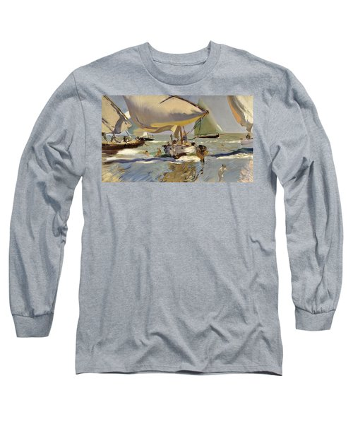 Boats On The Shore Long Sleeve T-Shirt