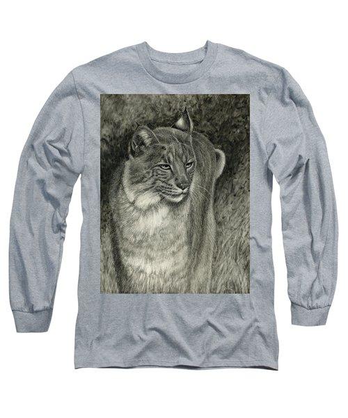 Bobcat Emerging Long Sleeve T-Shirt by Sandra LaFaut