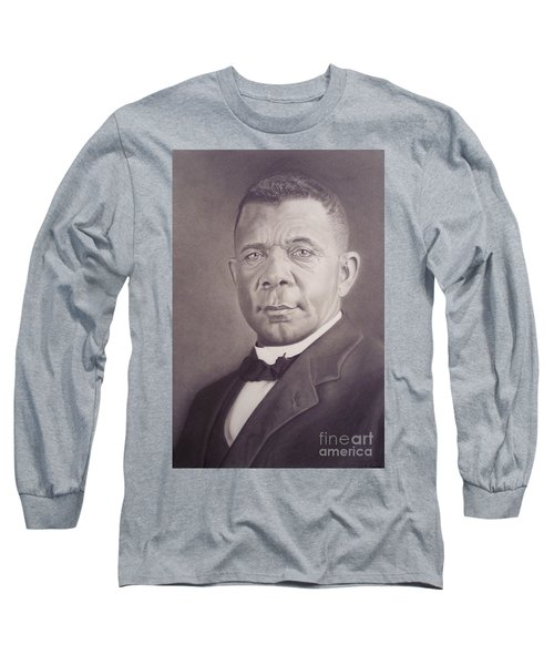 Long Sleeve T-Shirt featuring the drawing Booker T Washington by Wil Golden