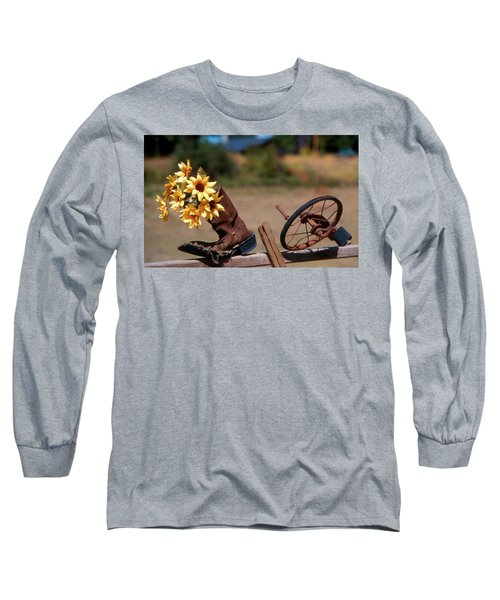 Boot With Flowers Long Sleeve T-Shirt