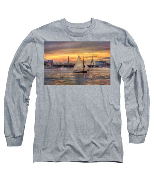Boston Harbor Sunset Sail Long Sleeve T-Shirt by Joann Vitali