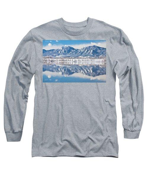 Boulder Reservoir Flatirons Reflections Boulder Colorado Long Sleeve T-Shirt