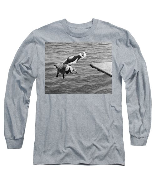 Boy And His Dog Dive Together Long Sleeve T-Shirt