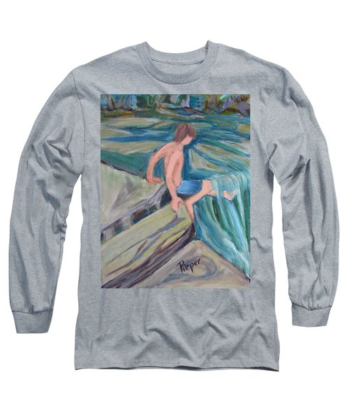 Long Sleeve T-Shirt featuring the painting Boy With Foot In Falls by Betty Pieper