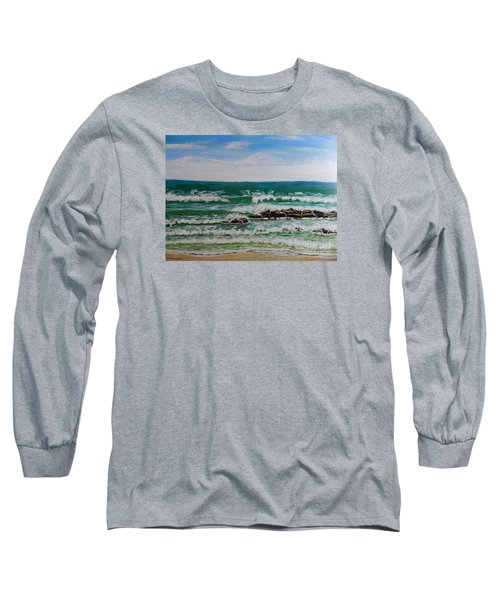 Breaking Waves Long Sleeve T-Shirt by Pamela  Meredith