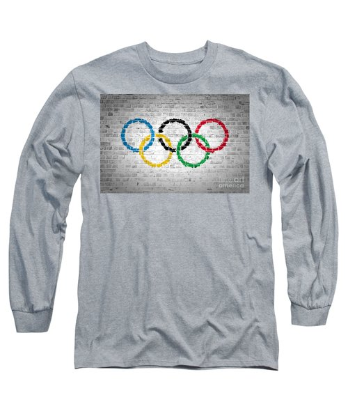 Brick Wall Olympic Movement Long Sleeve T-Shirt by Antony McAulay