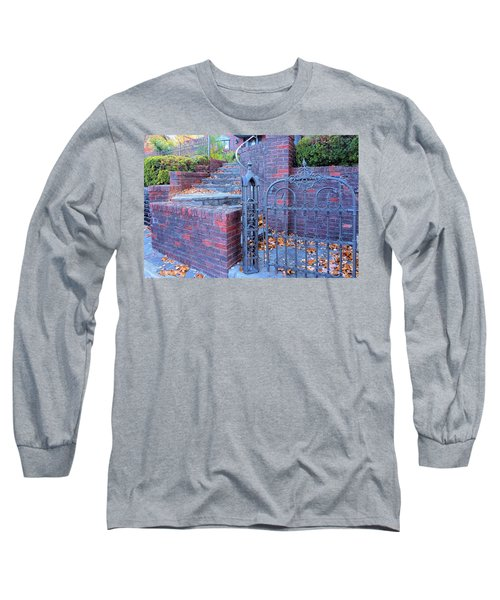 Long Sleeve T-Shirt featuring the photograph Brick Wall With Wrought Iron Gate by Janette Boyd
