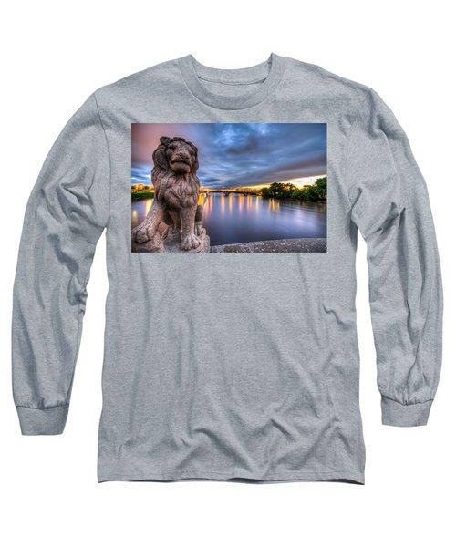 Bridge To Czech Village In Cedar Rapids At Sunset Long Sleeve T-Shirt