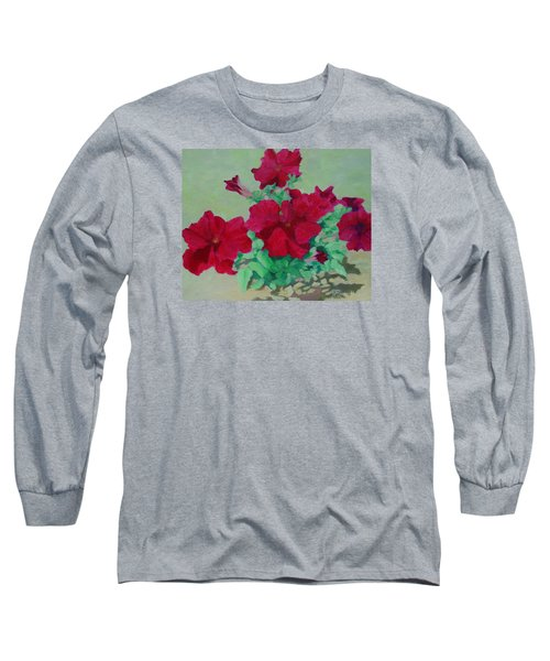 Red Flowers Art Brilliant Petunias Bright Floral  Long Sleeve T-Shirt
