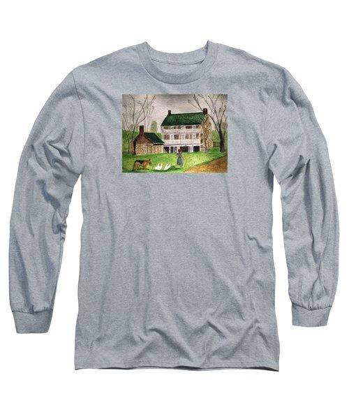 Bringing Home The Ducks Long Sleeve T-Shirt by Angela Davies