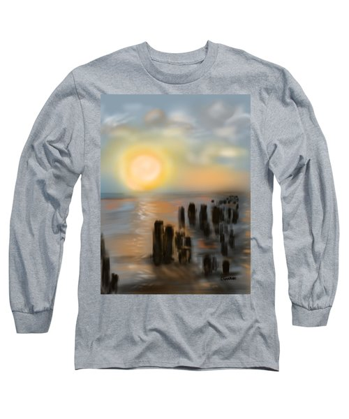 Long Sleeve T-Shirt featuring the digital art Broken Dock by Christine Fournier