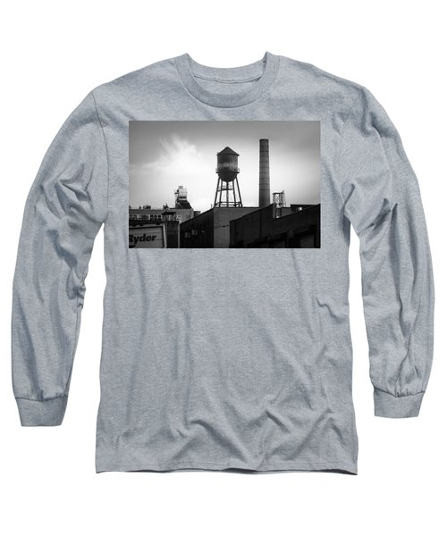 Long Sleeve T-Shirt featuring the photograph Brooklyn Water Tower And Smokestack - Black And White Industrial Chic by Gary Heller