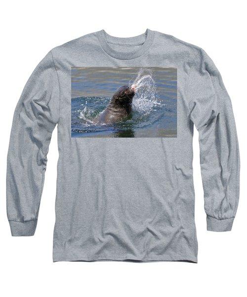 Brown Fur Seal Throwing A Fish Head Long Sleeve T-Shirt