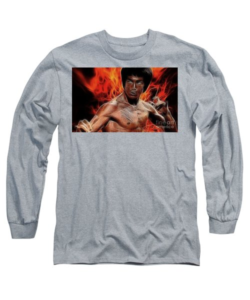 Bruce Lee Long Sleeve T-Shirt by Doc Braham