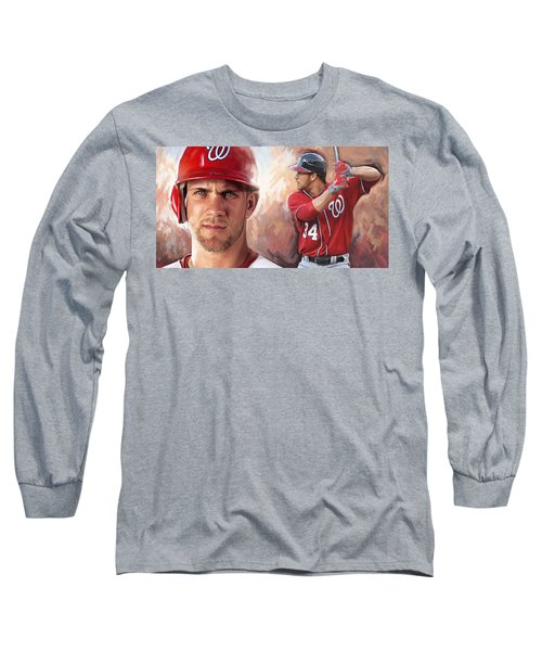 Long Sleeve T-Shirt featuring the painting Bryce Harper Artwork by Sheraz A