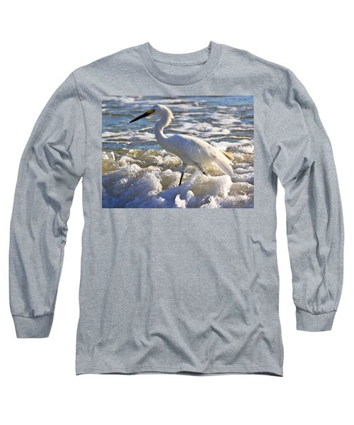 Bubbles Around Snowy Egret Long Sleeve T-Shirt