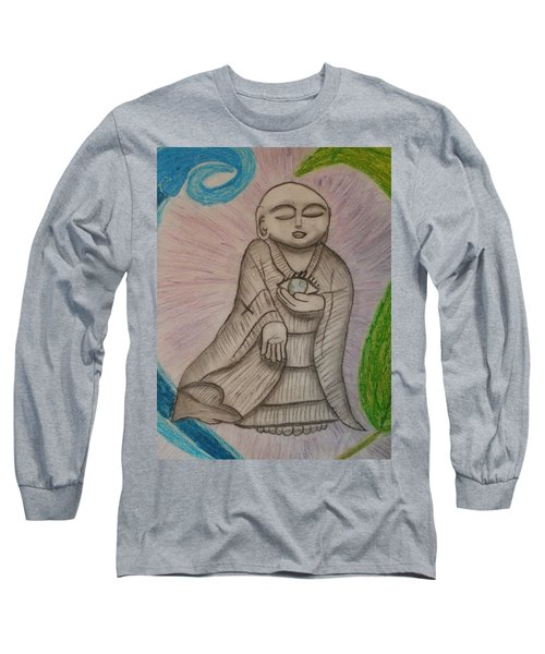 Long Sleeve T-Shirt featuring the drawing Buddha And The Eye Of The World by Thomasina Durkay