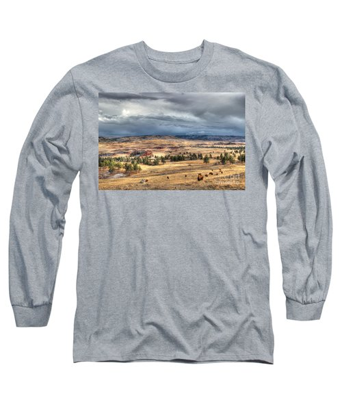 Long Sleeve T-Shirt featuring the photograph Buffalo Before The Storm by Bill Gabbert