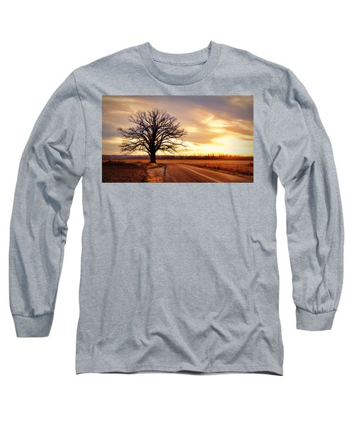 Burr Oak Silhouette Long Sleeve T-Shirt by Cricket Hackmann