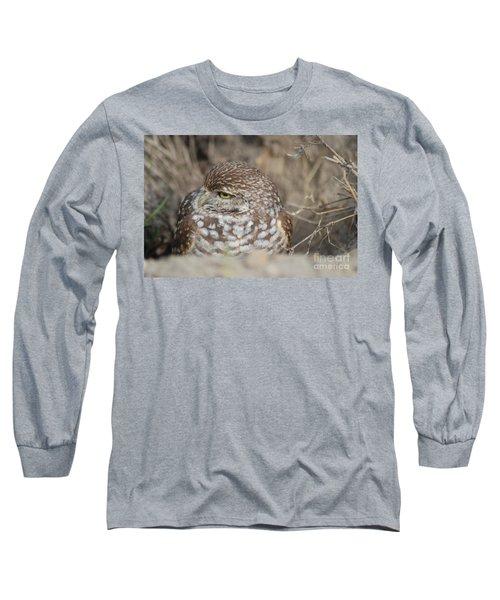 Long Sleeve T-Shirt featuring the photograph Burrowing Owl by Oksana Semenchenko