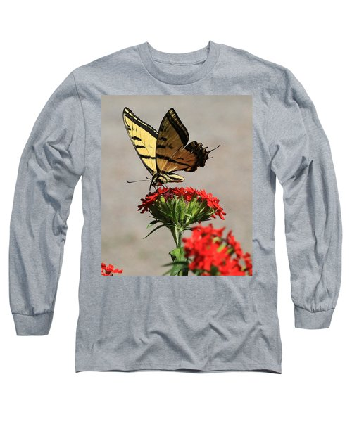 Long Sleeve T-Shirt featuring the photograph Butterfly And Maltese Cross 1 by Aaron Aldrich