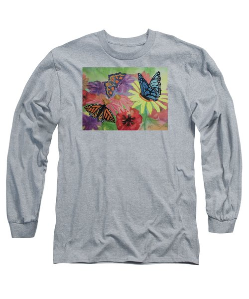 Long Sleeve T-Shirt featuring the painting Butterfly Garden by Ellen Levinson
