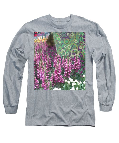 Long Sleeve T-Shirt featuring the photograph Butterfly Garden Purple White Flowers Painted Wall by Navin Joshi