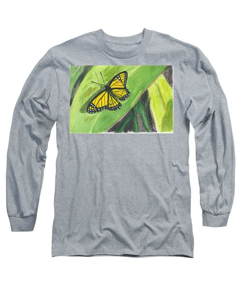 Long Sleeve T-Shirt featuring the painting Butterfly In Vermont Corn Field by Donna Walsh