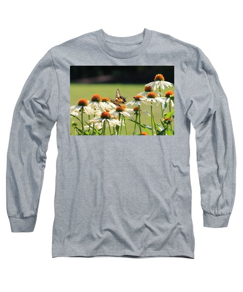 Butterfly On Echinacea Long Sleeve T-Shirt