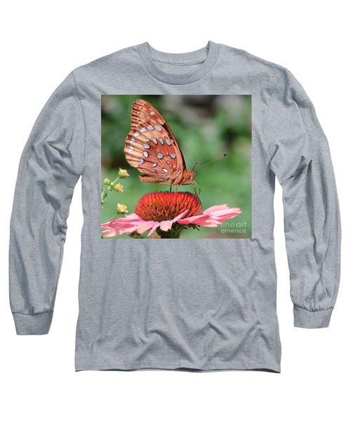 Butterfly Sipping A Coneflower Long Sleeve T-Shirt