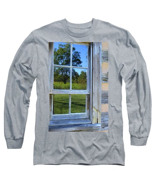 Long Sleeve T-Shirt featuring the photograph Cabin Reflections by Larry Bishop