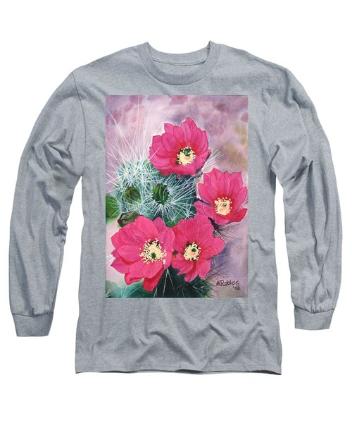 Cactus Flowers I Long Sleeve T-Shirt by Mike Robles