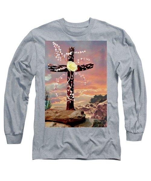 Calvary Cross Long Sleeve T-Shirt by Ron Chambers