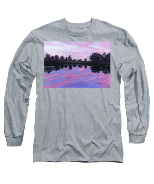 Long Sleeve T-Shirt featuring the painting Camp Sunset by Lynne Reichhart