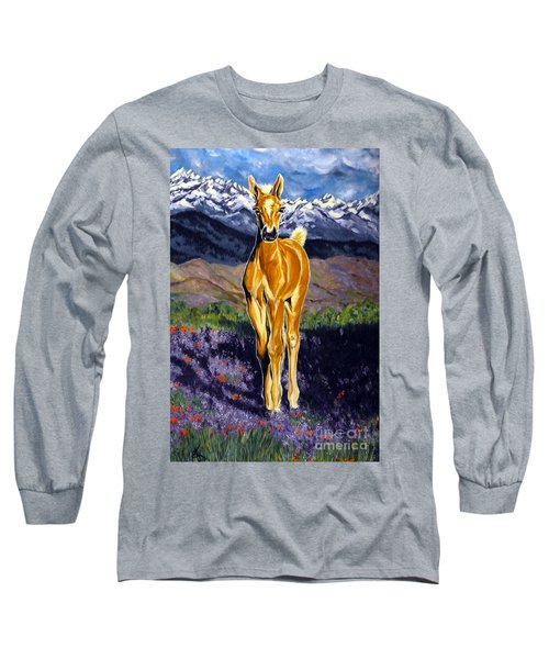 Candy Rocky Mountain Palomino Colt Long Sleeve T-Shirt by Jackie Carpenter