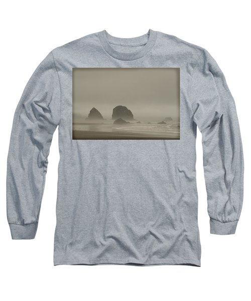Long Sleeve T-Shirt featuring the photograph Cannon Beach In A Fog Oregon by Yulia Kazansky