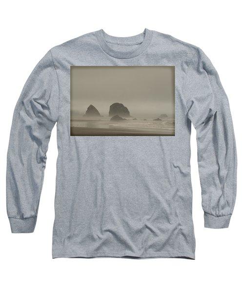 Cannon Beach In A Fog Oregon Long Sleeve T-Shirt