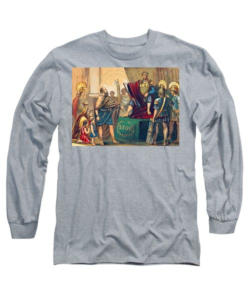 Long Sleeve T-Shirt featuring the photograph Caractacus Before Emperor Claudius, 1st by British Library